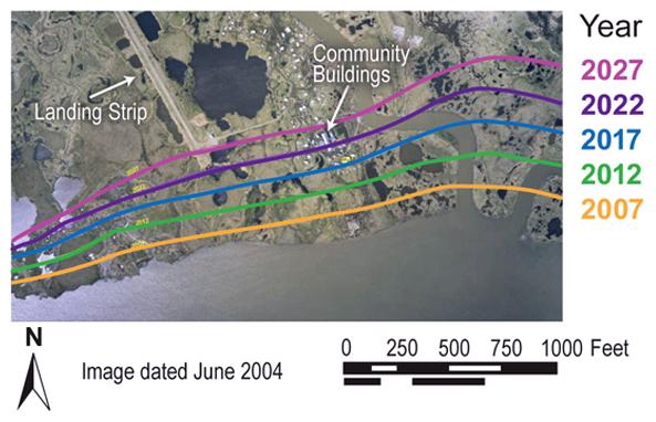 En EE.UU. también: aquí el retroceso proyectado de la línea de costa en Newtok, en un informe de 2009.
